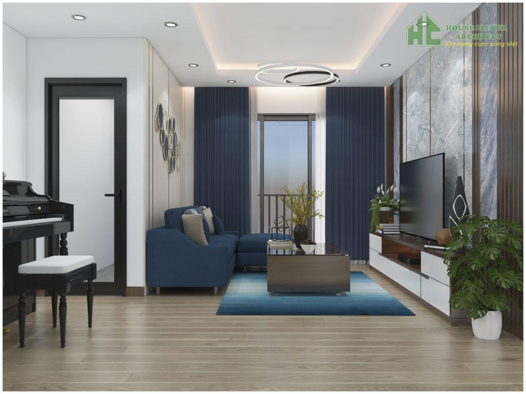 Nội thất không gian phòng khách chung cư phong cách hiện đại
