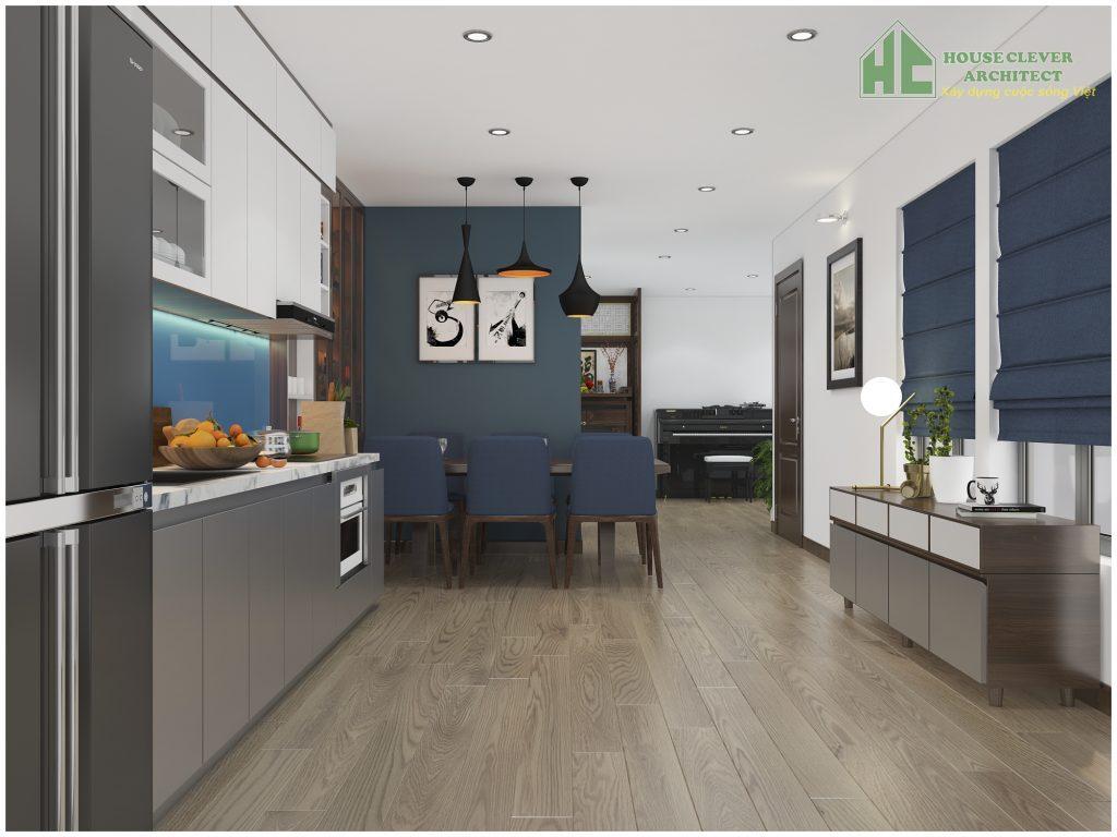Không gian nội thất phòng bếp ăn tiện nghi và gọn gàng
