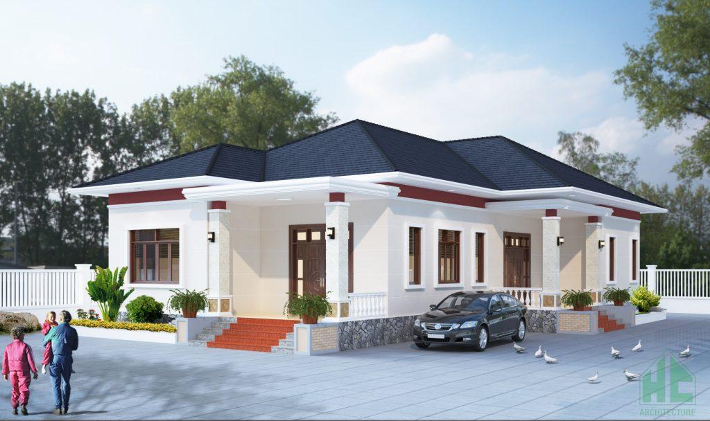Thiết kế nhà 1 tầng hiện đại 2 mặt tiền với hình khối kiến trúc hoàn hảo