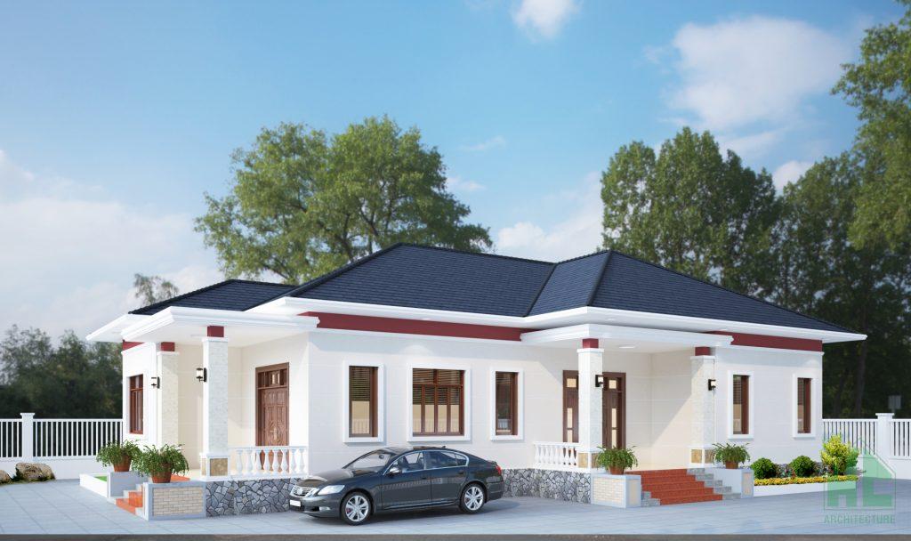 Mẫu thiết kế nhà 1 tầng 3 phòng ngủ đẹp phong cách hiện đại