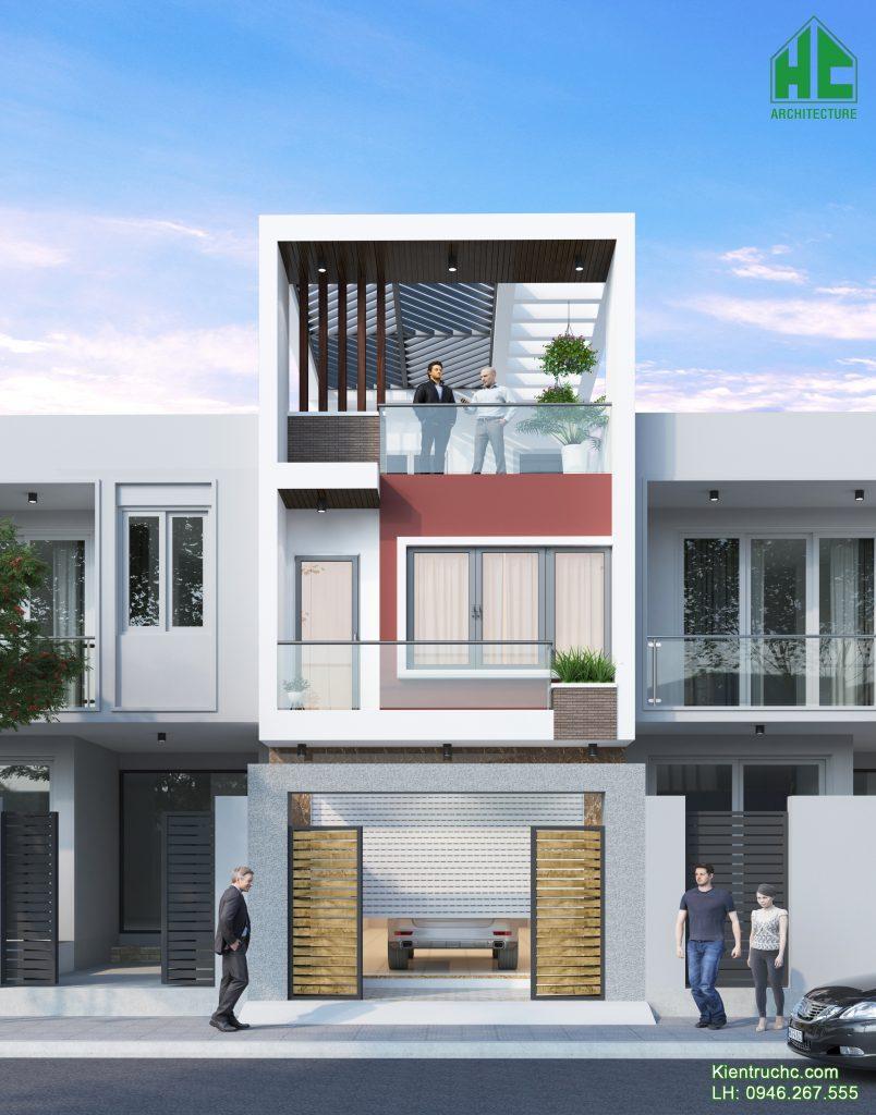 Mẫu thiết kế nhà phố 2 tầng 1 tum phong cách hiện đại
