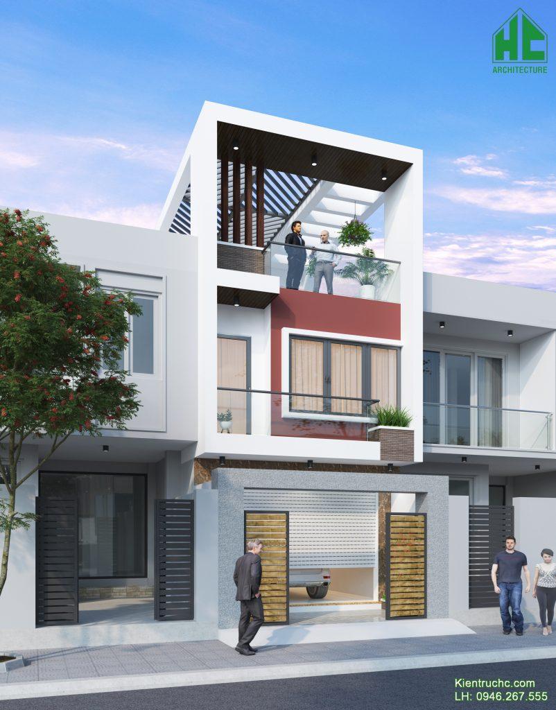 Thiết kế nhà phố hiện đại với mặt tiền nổi bật, ấn tượng