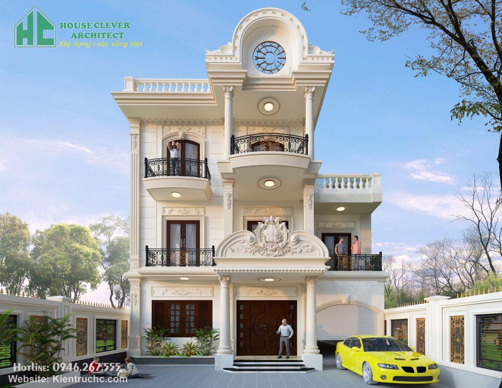 Mẫu thiết kế biệt thự 3 tầng với đường nét kiến trúc độc đáo