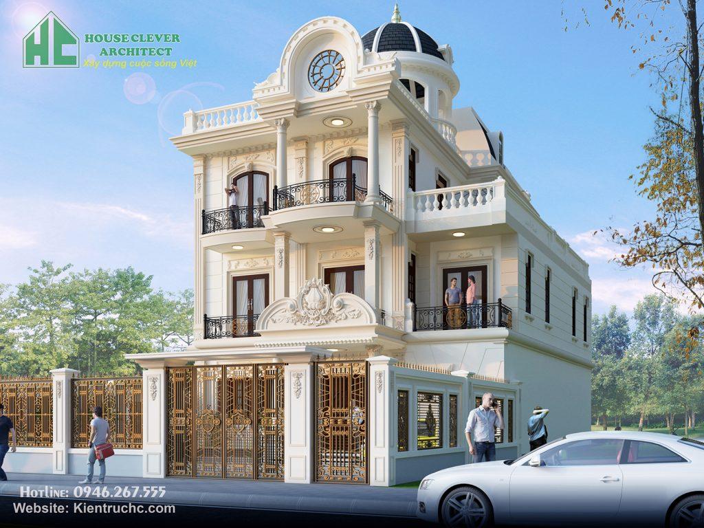 Mẫu thiết kế biệt thự 3 tầng kiến trúc Pháp đẹp ấn tượng