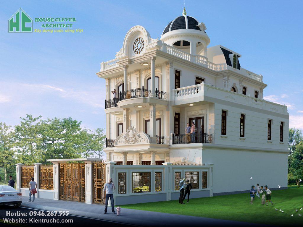 Kiến trúc mẫu thiết kế biệt thự 3 tầng kiểu Pháp vững chãi, bề thế
