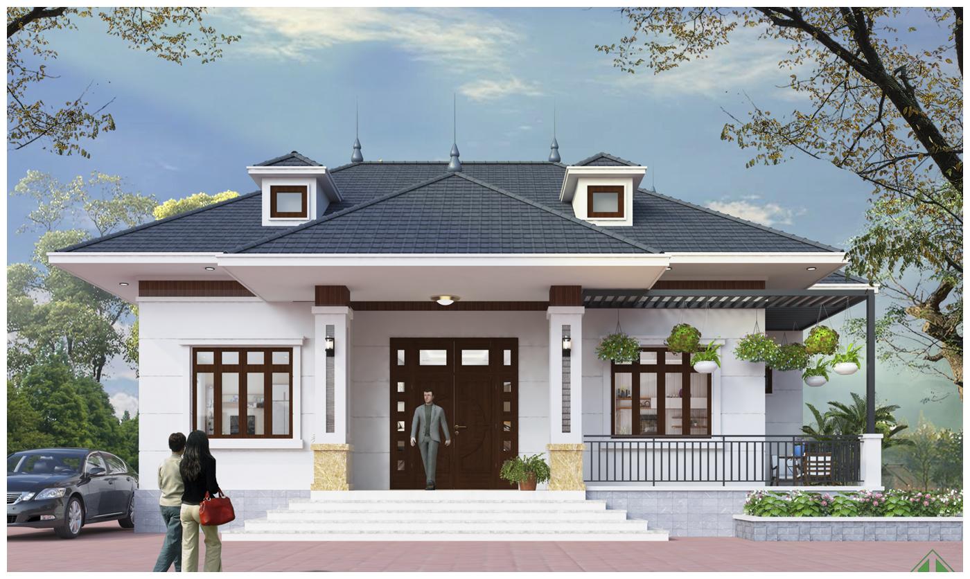 Thiết kế nhà biệt thự mái thái 1 tầng