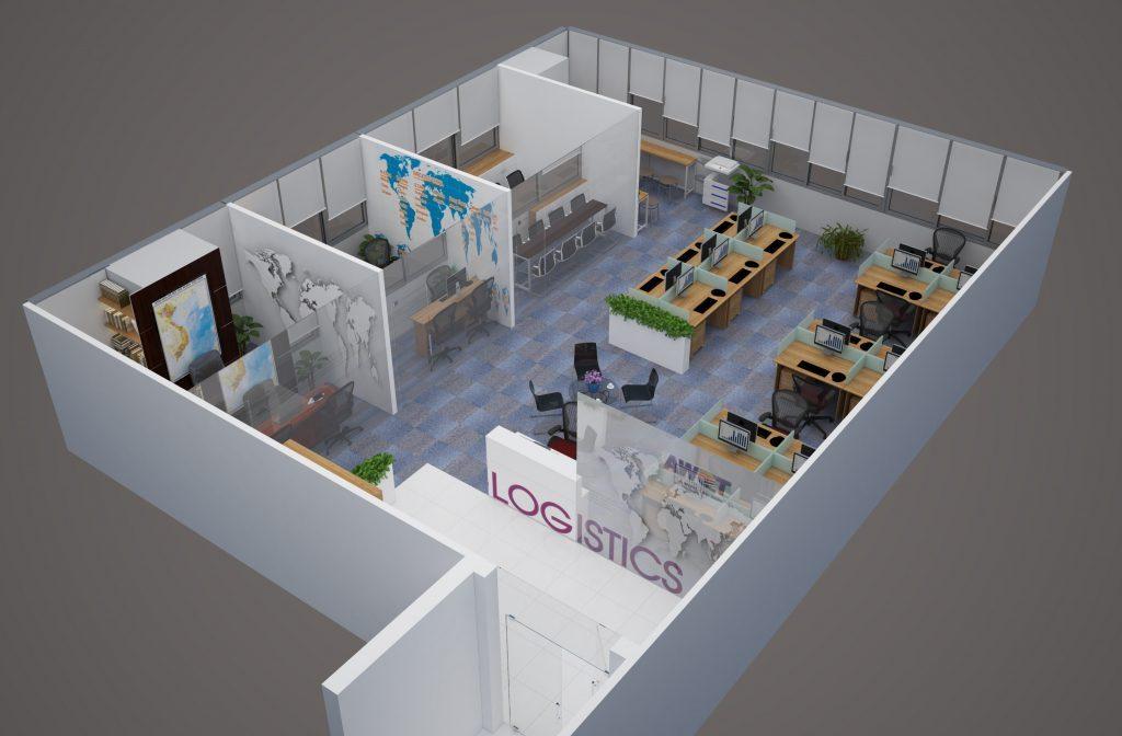 Mẫu thiết kế nội thất văn phòng làm việc hiện đại