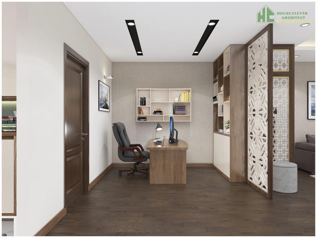 Nội thất không gian làm việc của chủ nhân căn hộ chung cư