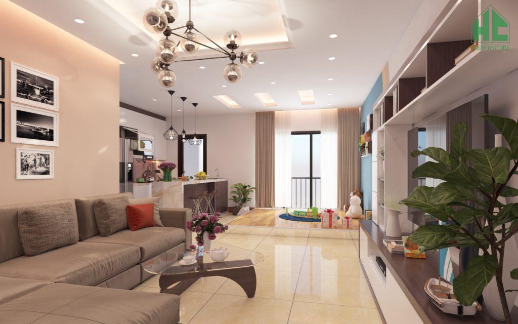 Thiết kế nội thất phòng khách chung cư Green Star