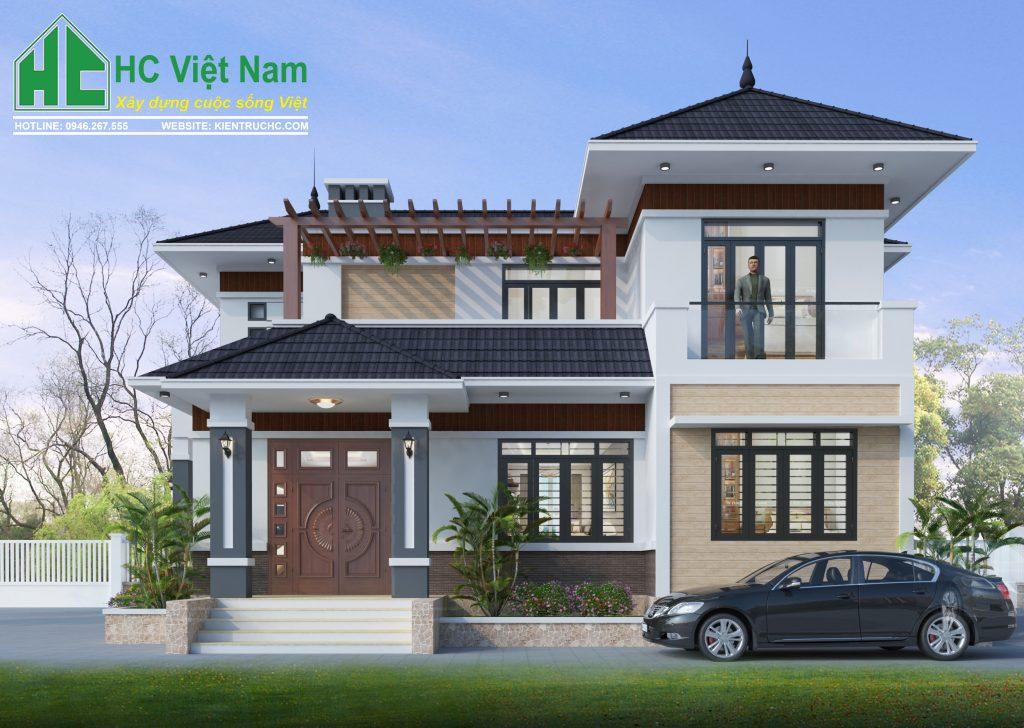 Mẫu thiết kế biệt thự 2 tầng mái thái phong cách hiện đại