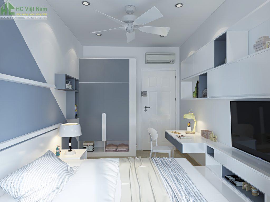 Không gian nội thất phòng ngủ con sử dụng gam màu tươi sáng, năng động