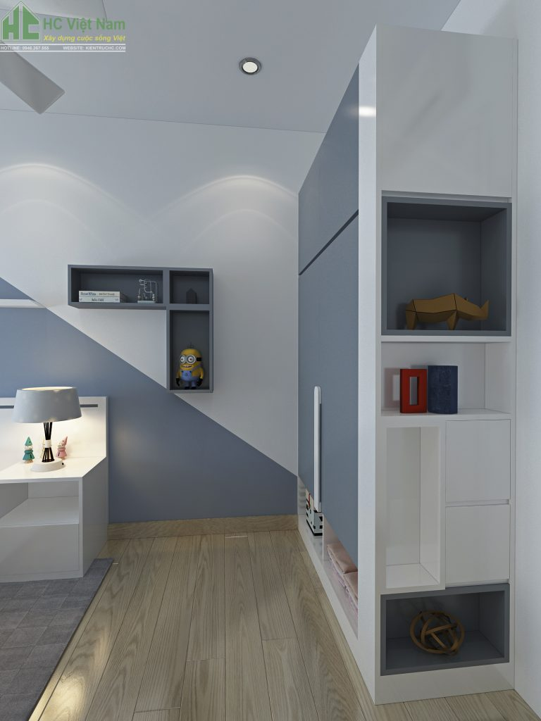 Mẫu thiết kế phòng ngủ con với đồ nội thất hiện đại, chất liệu cao cấp