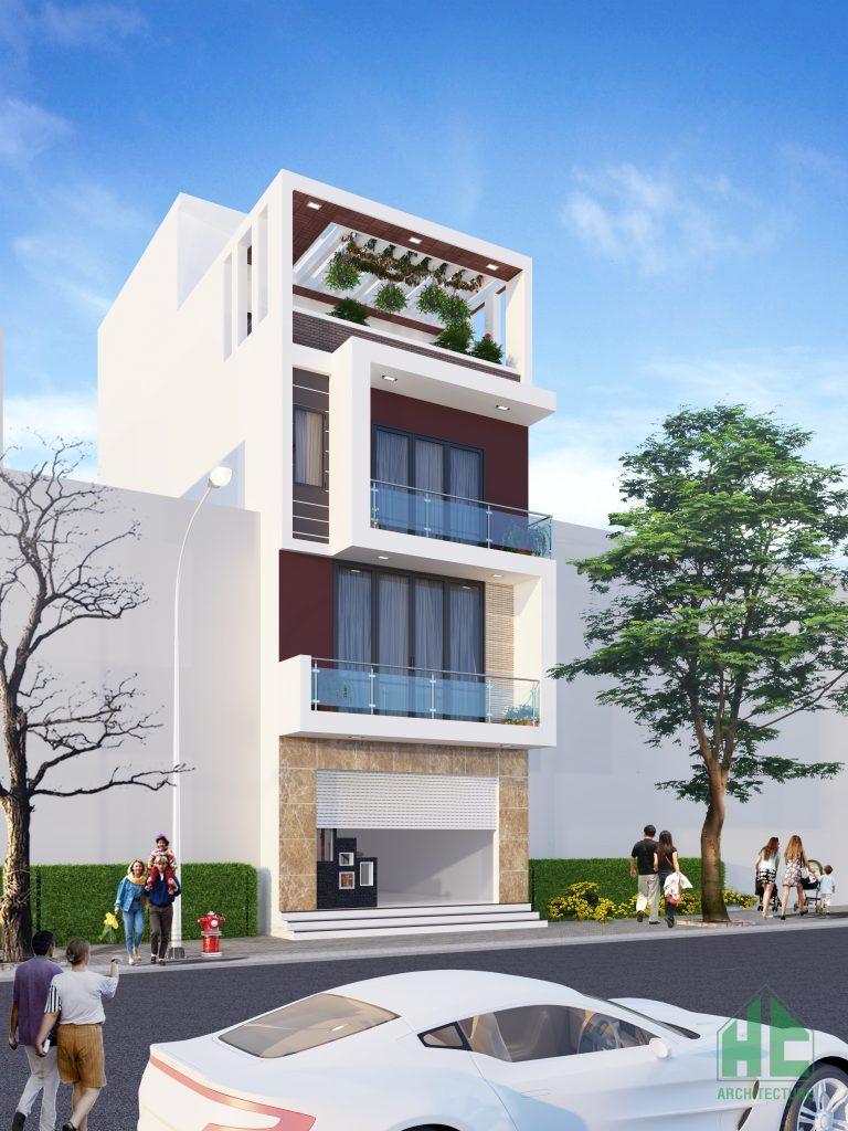 Phối cảnh kiến trúc đẹp nổi bật của mẫu thiết kế nhà mặt tiền 6m