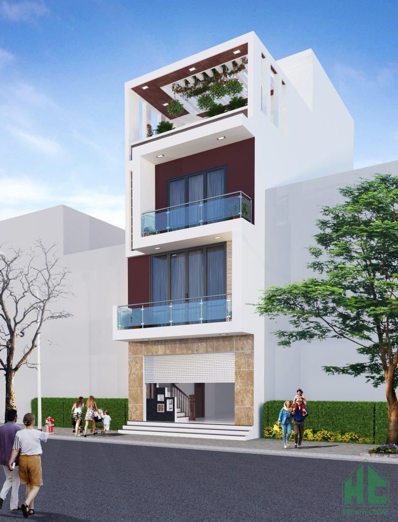 Phối cảnh mặt tiền đẹp của mẫu thiết kế nhà 4 tầng