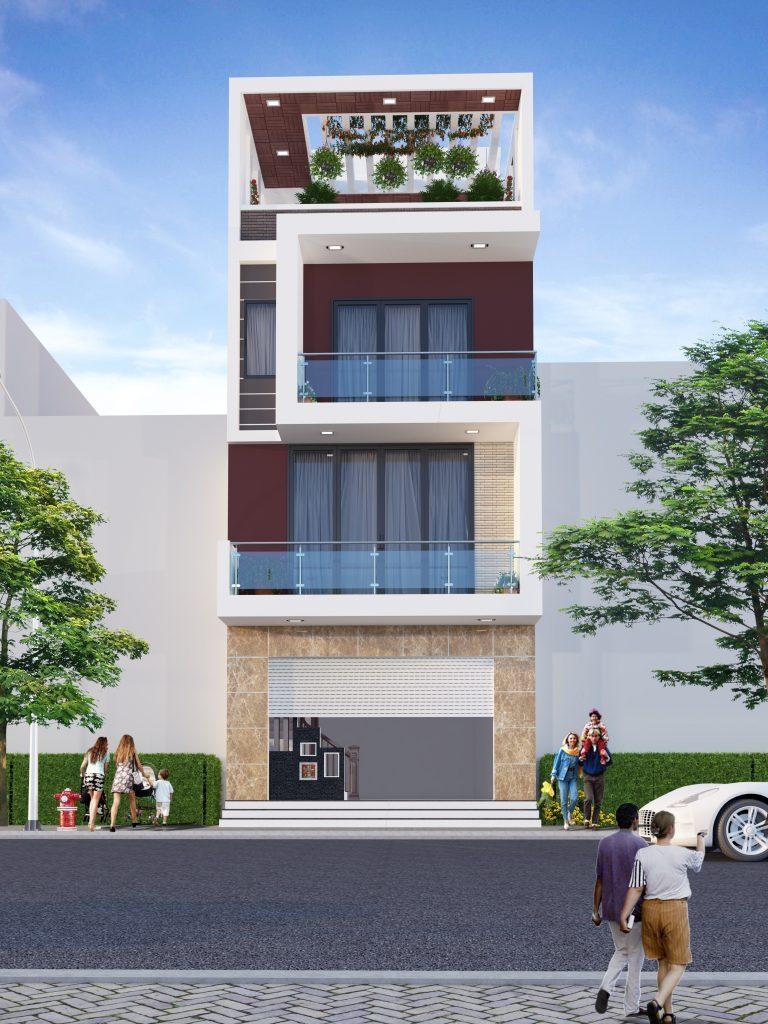 Phối cảnh mẫu thiết kế nhà đẹp mặt tiền 6m