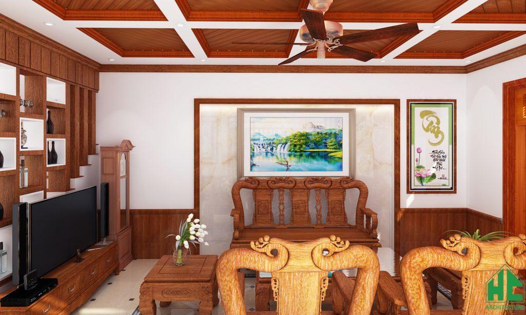 Không gian tiếp khách sử dụng chất liệu gỗ cao cấp