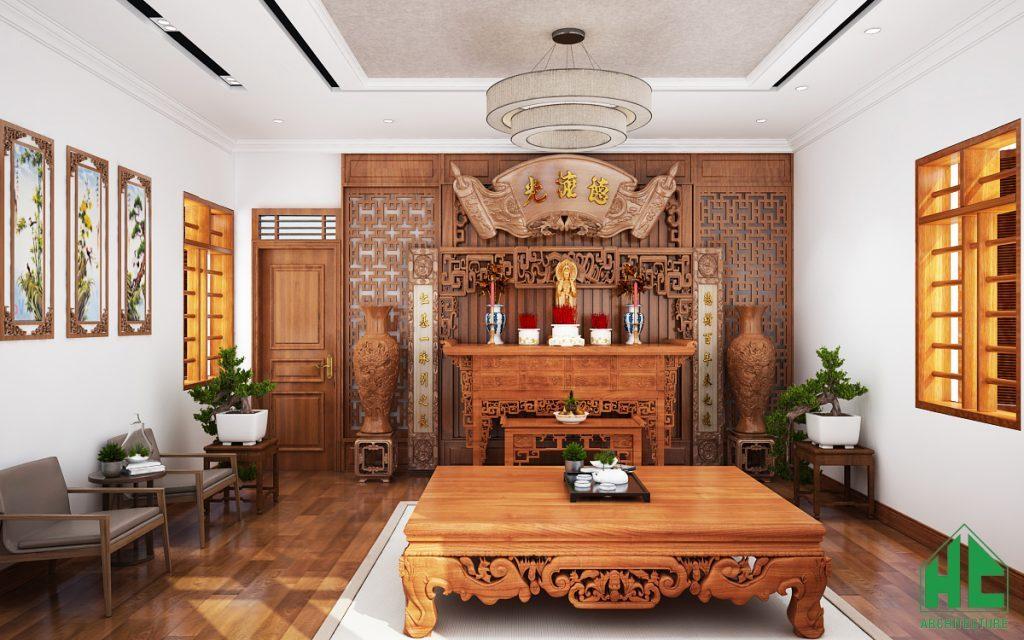 Thiết kế nội thất phòng thờ lịch sự và tôn nghiêm