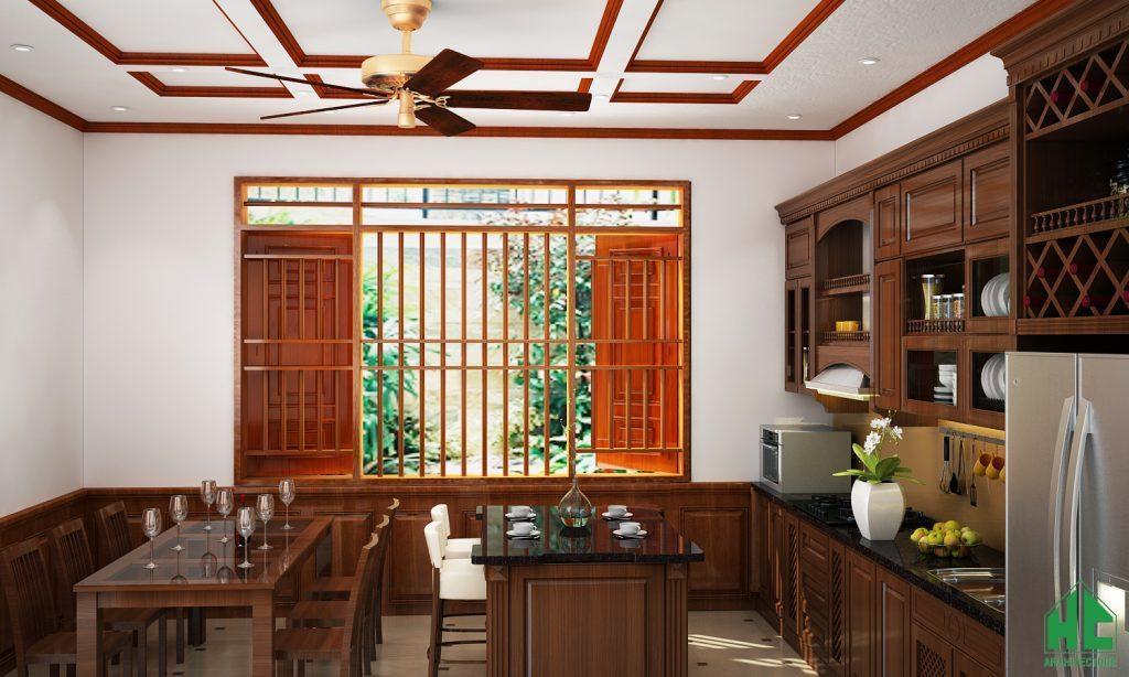 Không gian phòng bếp ăn đặt cạnh cửa sổ lớn tràn ngập ánh sáng