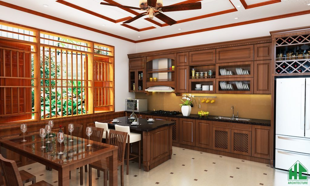Thiết kế nội thất phòng bếp ăn bài trí tiện nghi và rộng rãi