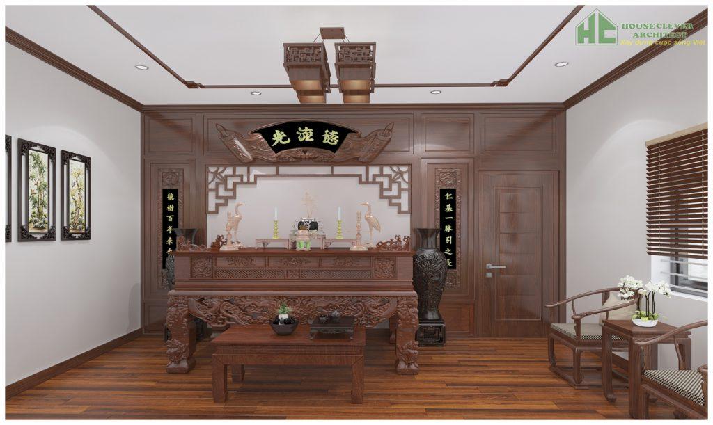 Nội thất không gian thờ cúng sắp xếp trang nghiêm