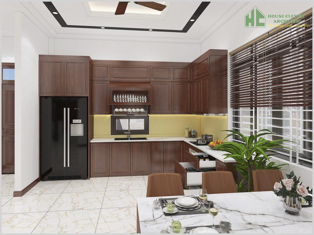 thiết kế nội thất phòng bếp ăn với không gian rộng rãi, tiện lợi