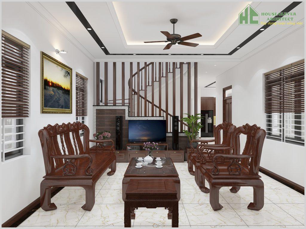 Thiết kế nội thất phòng khách biệt thự 2 tầng
