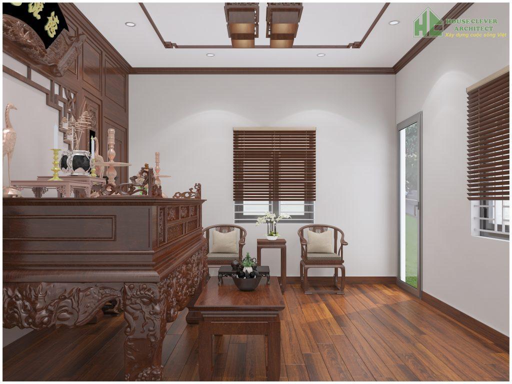 Thiết kế nội thất phòng thờ biệt thự trang trọng, lịch sự