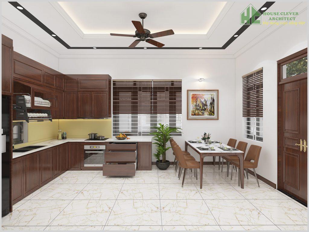 Thiết kế nội thất phòng bếp ăn đầy đủ tiện nghi