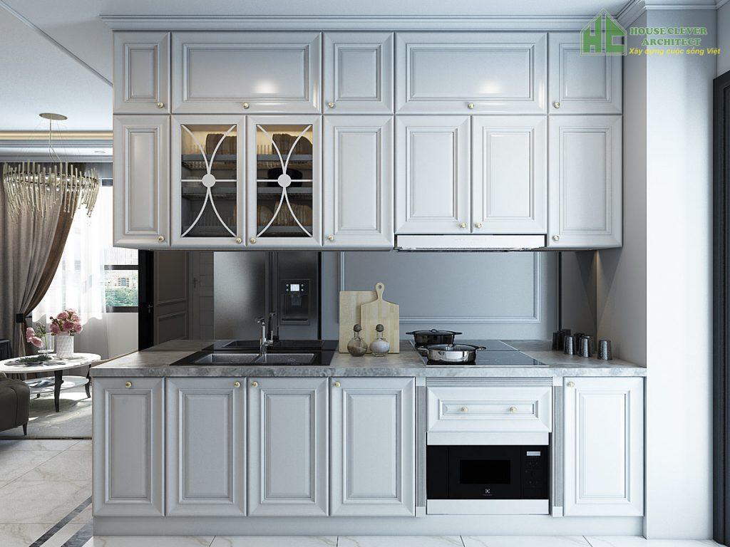 Nội thất phòng bếp chung cư được bố trí đầy đủ vật dụng cần thiết