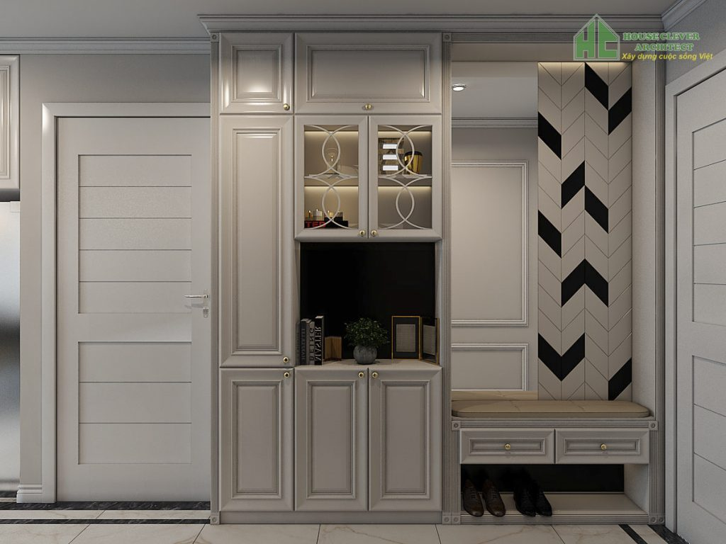 Thiết kế nội thất chung cư với hệ tủ giày tiện nghi
