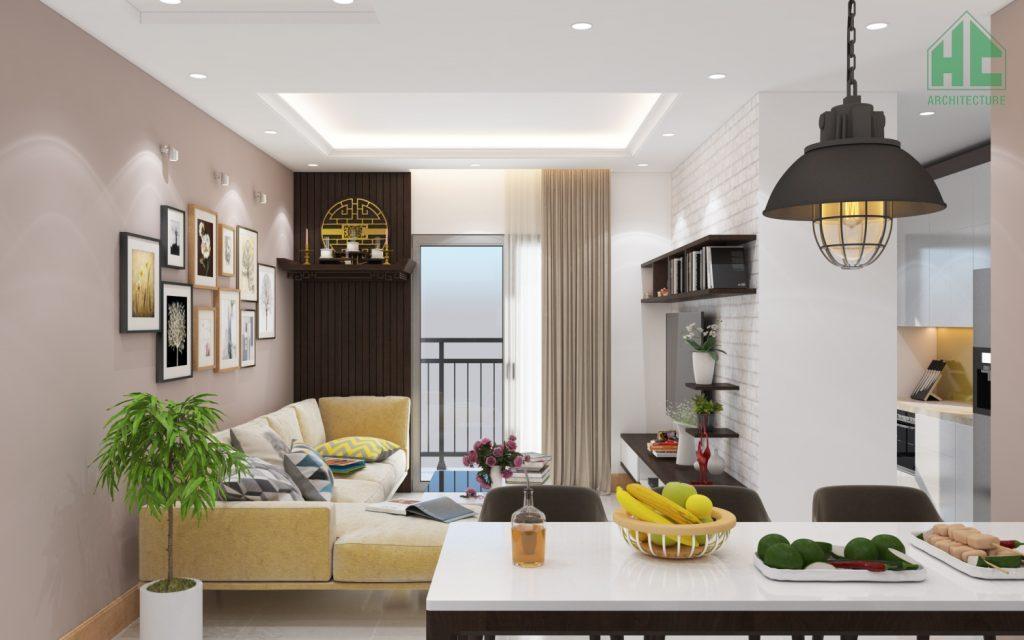 Thiết kế nội thất phòng khách đơn giản nhưng tiện nghi