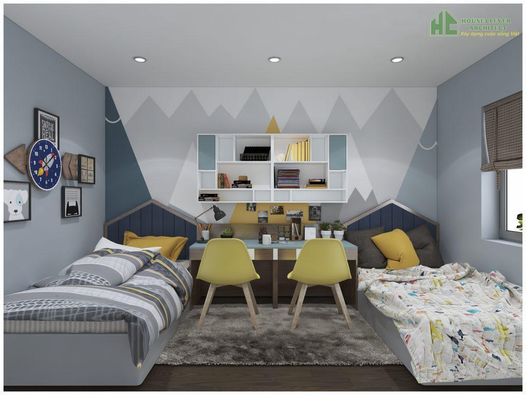 Thiết kế nội thất phòng ngủ con sinh động, đáng yêu