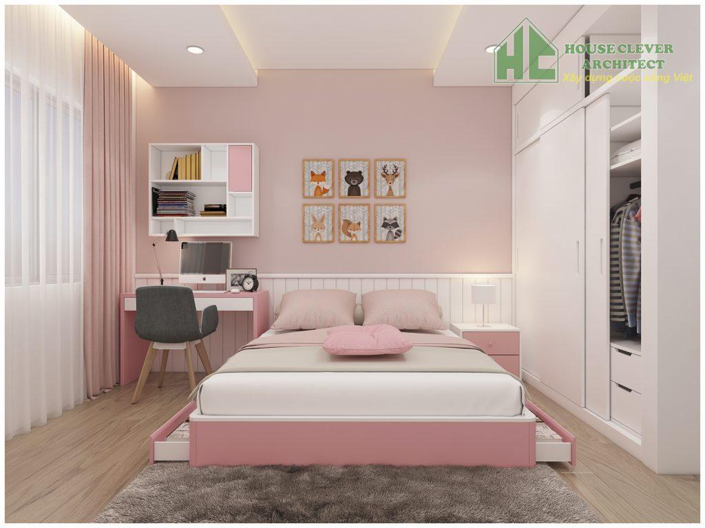 Thiết kế nội thất phòng ngủ con đáng yêu và ngọt ngào