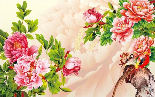 tranh phong thủy hoa mẫu đơn 8 bông