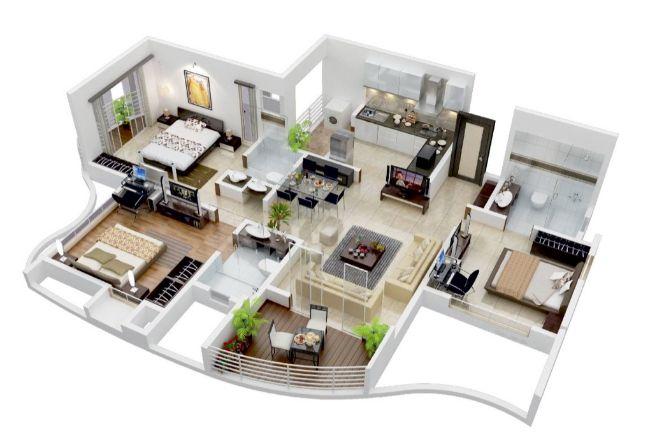 thiết kế căn hộ 90m2 3 phòng ngủ