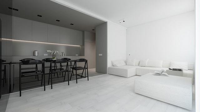 không gian phòng khách màu trắng ấn tượng