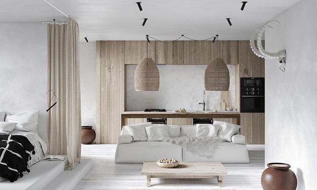 phòng khách màu trắng đẹp