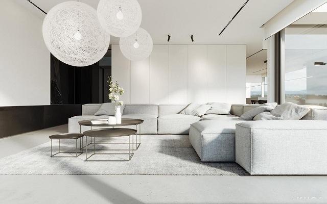 căn phòng khách màu trắng hiện đại