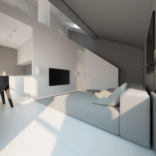 căn phòng ngập tràn sắc trắng và xám