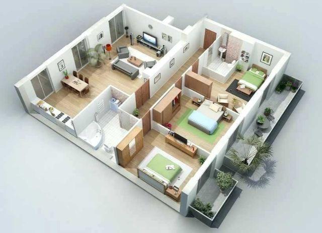Thiết kế căn hộ 70m2 3 phòng ngủ