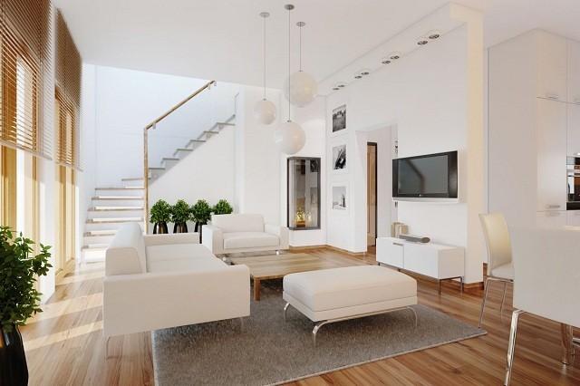 phòng khách màu trắng tối giản hóa