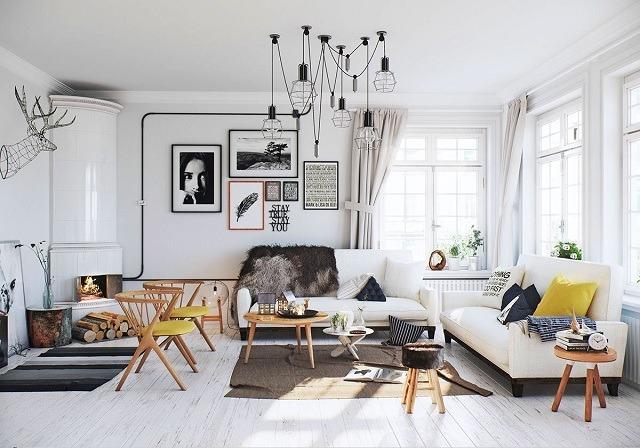 phòng khách màu trắng theo phong cách Scandinavia