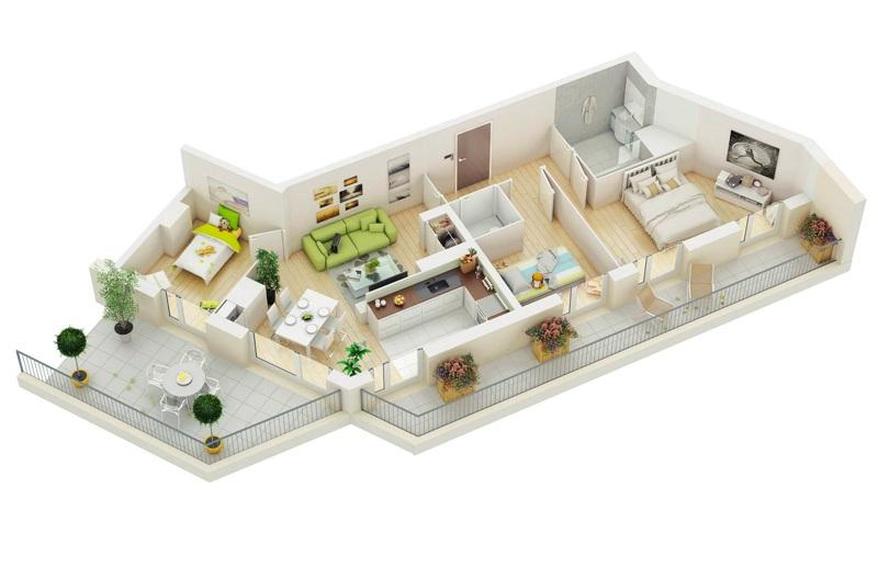 Thiết kế căn hộ 100m2 3 phòng ngủ