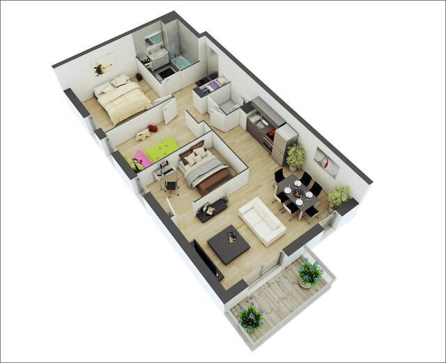 thiết kế nội thất chung cư 2 phòng ngủ