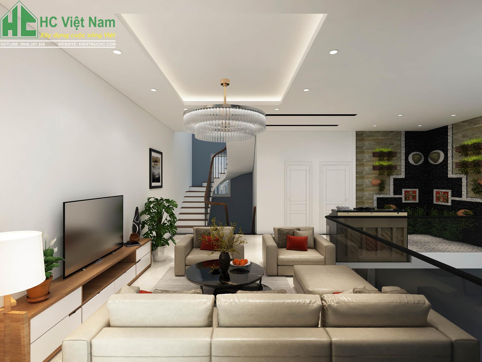 thiết kế phòng khách tầng 2