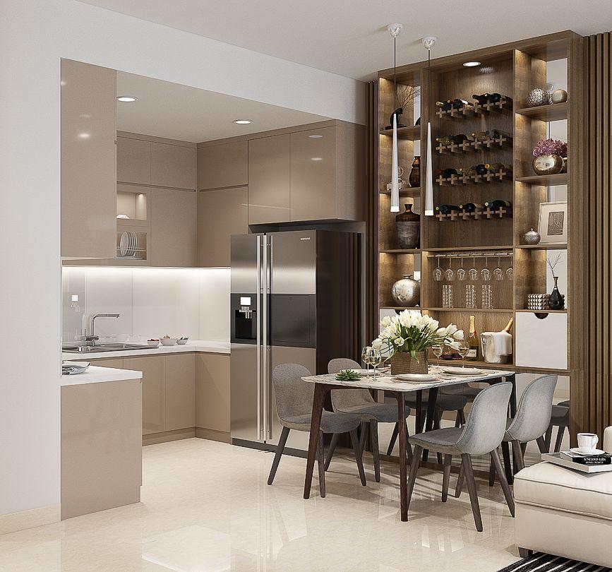 Không gian bếp kết hợp tủ rượu sang trọng bên bàn ăn