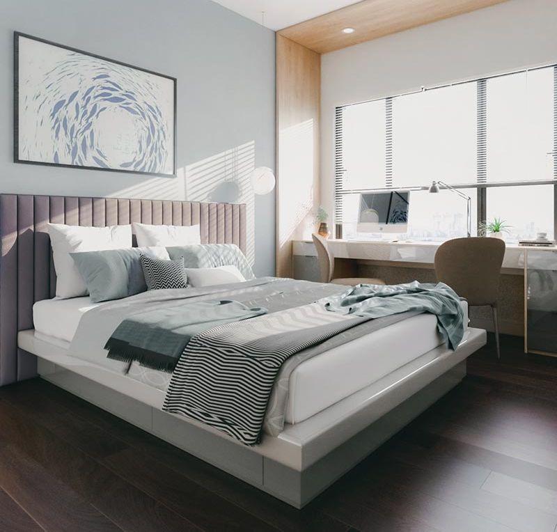 thiết kế phòng ngủ phối màu ấm cúng
