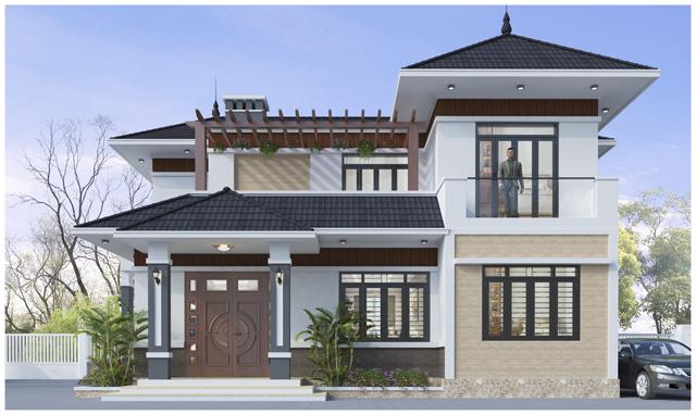 thiết kế nhà mái thái 2 tầng