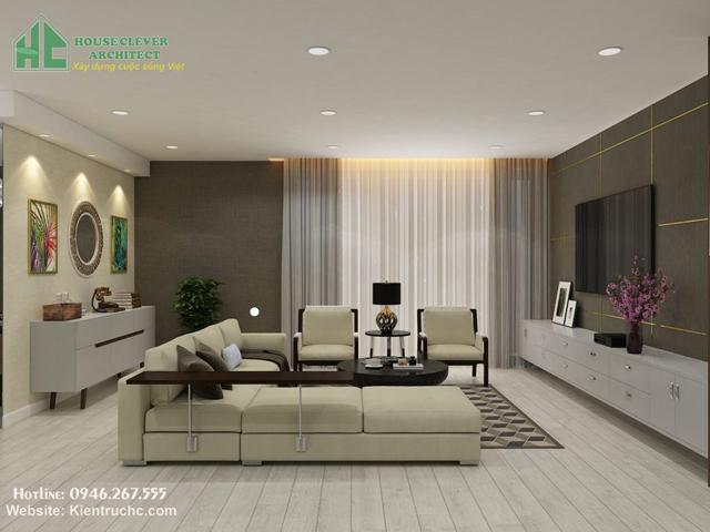 Mẫu thiết kế phòng khách chung cư MULBERRY- Mỗ Lao