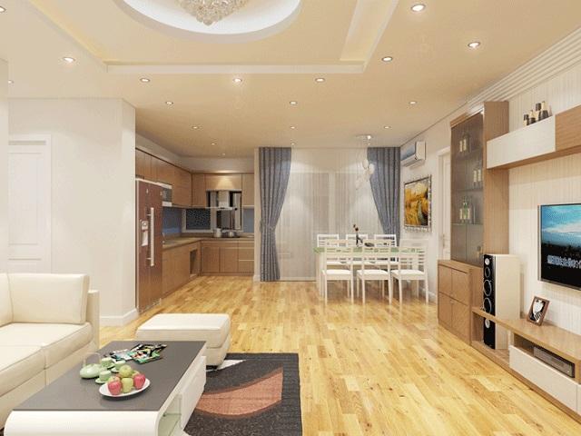 phòng khách và bếp thông nhau